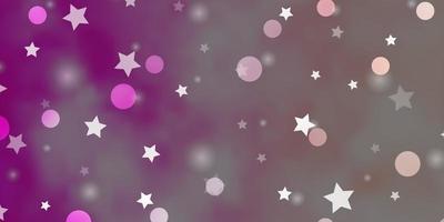 layout de vetor rosa claro com círculos, estrelas