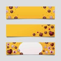 conjunto de bandeiras de chocolate do dia dos namorados vetor