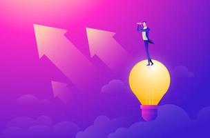 homem de negócios voando no céu em balão de ar quente e planejando o futuro. olhando pela luneta. conceito de ideia. ilustração em vetor estilo simples.