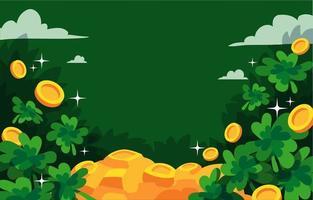 Sharmrock do dia de São Patrício e fundo dourado vetor