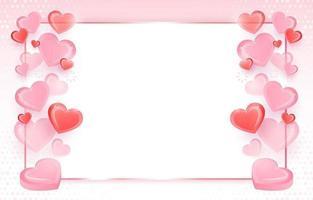 fundo com corações rosa e vermelho vetor