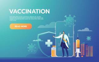 conceito de vacinação. campanha de imunização. vacina injetada. tratamento médico. ilustração vetorial plana vetor