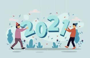 casais comemorando 2021 vetor