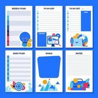 diário para escrever notas de lista de planos e objetivos vetor