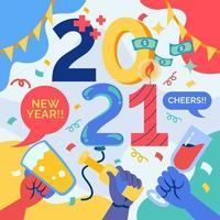 festa 2021 ano novo com amigo vetor