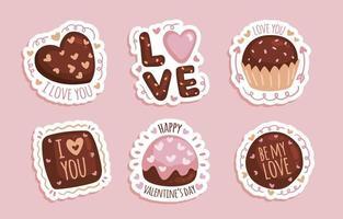 adesivos de chocolate desenhado à mão vetor