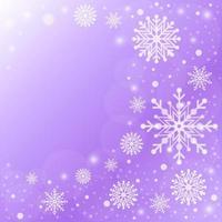 elegante fundo gradiente roxo de flocos de neve