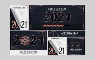 postagens de mídia social com contagem regressiva de ano novo vetor