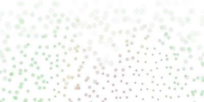 fundo abstrato do vetor verde e vermelho claro com folhas.
