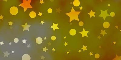 pano de fundo vector laranja claro com círculos, estrelas.