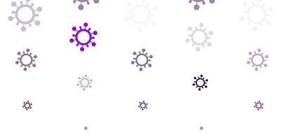 padrão de vetor roxo claro e rosa com elementos de coronavírus
