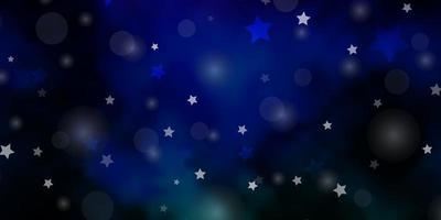 modelo de vetor multicolorido escuro com círculos, estrelas.