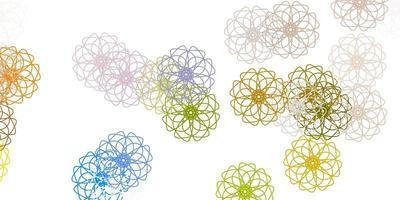 fundo de doodle de vetor azul e amarelo claro com flores.