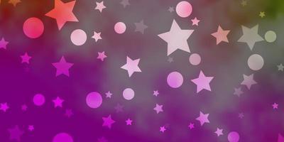 fundo vector rosa claro, verde com círculos, estrelas.