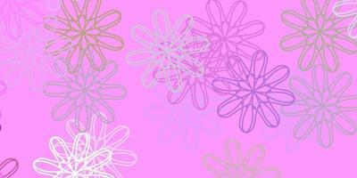 modelo de doodle de vetor rosa e verde claro com flores.