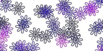 modelo de doodle de vetor rosa e roxo claro com flores.