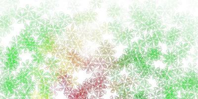 arte abstrata de vetor verde e vermelho claro com folhas.