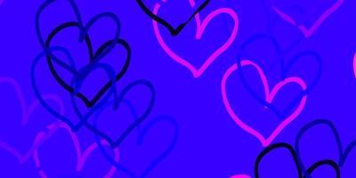 de fundo vector roxo, rosa claro com corações brilhantes.