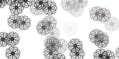 padrão de doodle de vetor cinza claro com flores.