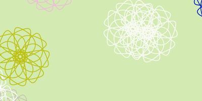 textura do doodle do vetor multicolor luz com flores.