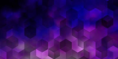 padrão de vetor rosa claro roxo com hexágonos coloridos.