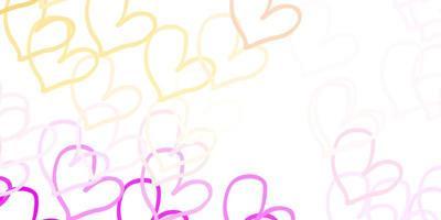 padrão de vetor rosa claro, amarelo com corações coloridos.