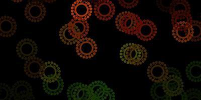 pano de fundo de vetor verde e amarelo escuro com símbolos de vírus.