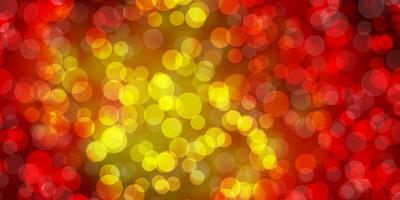 modelo de vetor vermelho e amarelo escuro com círculos.