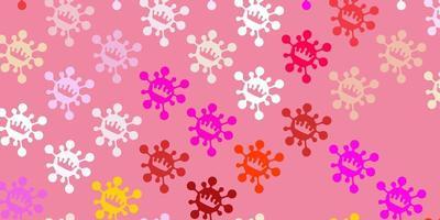 padrão de vetor rosa claro amarelo com elementos de coronavírus