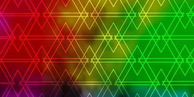luz de fundo multicolor vector com linhas, triângulos.