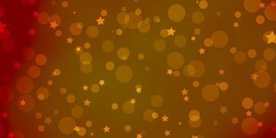 textura de vetor laranja claro com círculos, estrelas