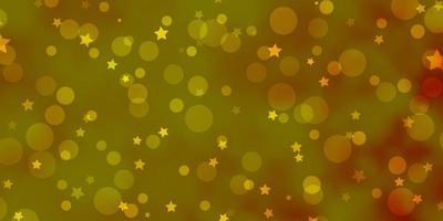 layout de vetor laranja claro com círculos, estrelas.