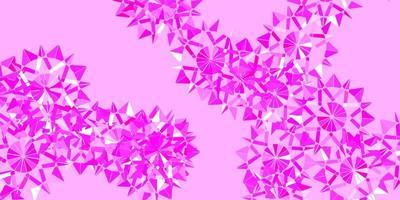 layout de vetor rosa claro com flocos de neve lindos.