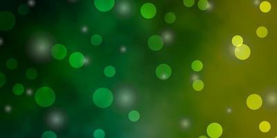 layout de vetor verde e amarelo claro com círculos, estrelas.