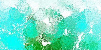 fundo vector verde claro com flocos de neve de Natal.