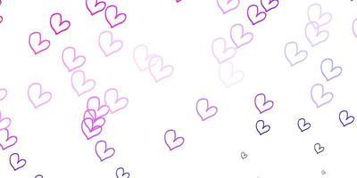 padrão de vetor rosa claro roxo com corações coloridos.
