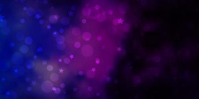 padrão de vetor rosa escuro, azul com círculos, estrelas.