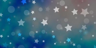 luz rosa, padrão de vetor azul com círculos, estrelas.