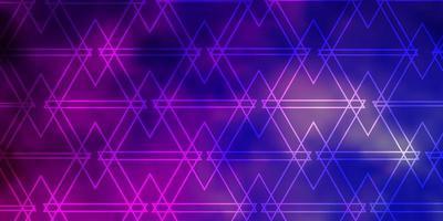 textura vector roxo claro, rosa com estilo triangular.