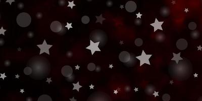 pano de fundo vector vermelho escuro com círculos, estrelas.