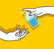 mão bombeando algum desinfetante, por outro lado