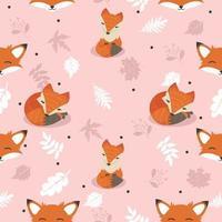 raposas fofas com decoração de folhas sem costura de fundo