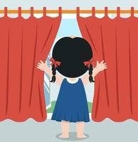 garota abrindo as cortinas da janela vetor