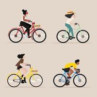 pessoas andando de bicicleta conjunto de vetores