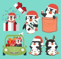 conjunto de pinguins fofos desenhos animados de natal vetor