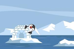 pinguim com iglu de gelo na paisagem ártica