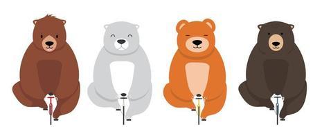 doces e fofos ursos em bicicletas