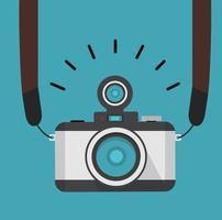 câmera fotográfica retro com alça estilo plano