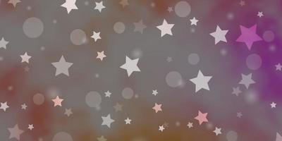 textura de vetor rosa, amarelo claro com círculos, estrelas.