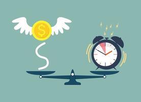 tempo vs dinheiro em uma escala vetor